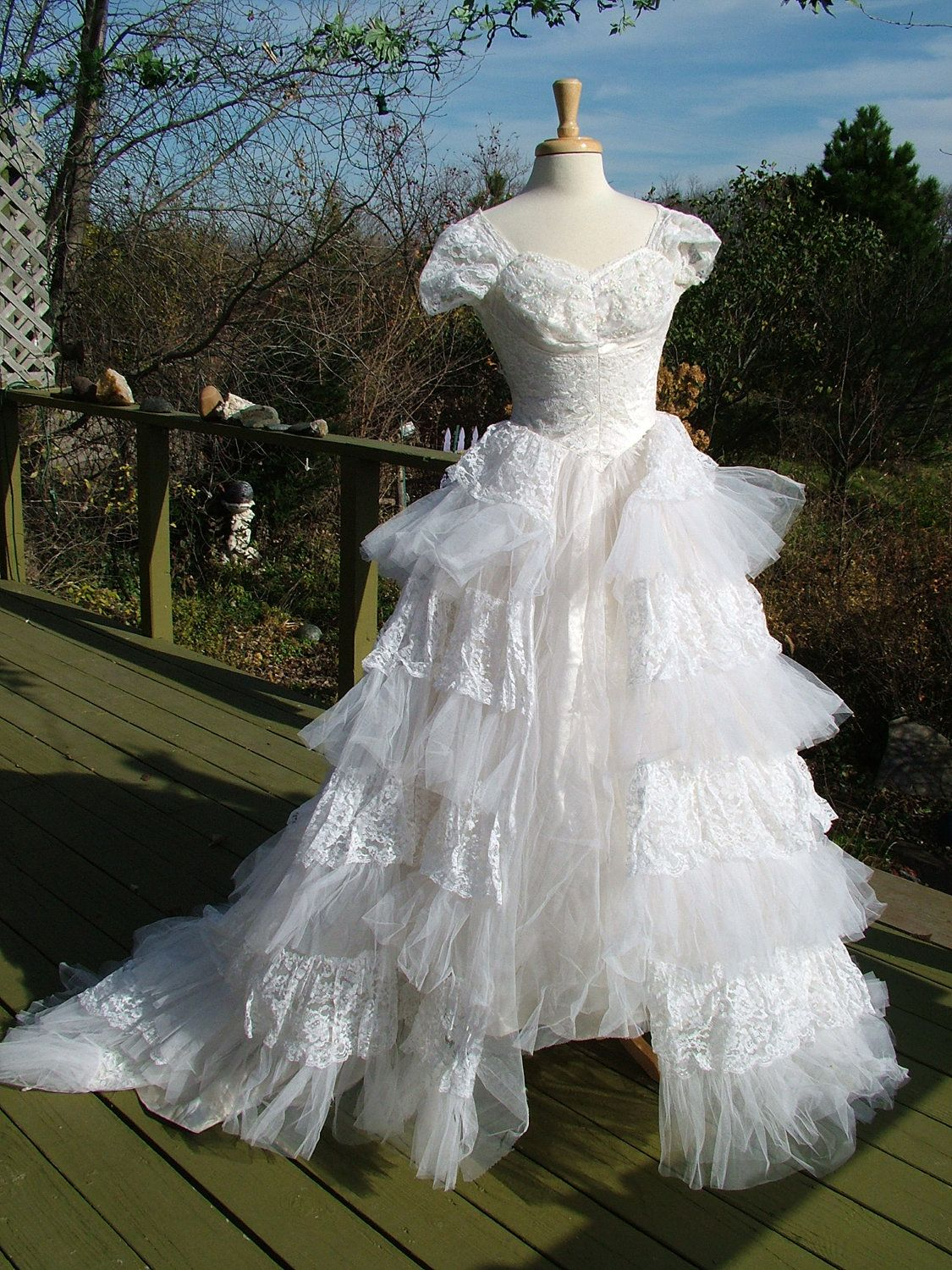 1940s 1950s Vintage wedding Dress bridal gown layers of