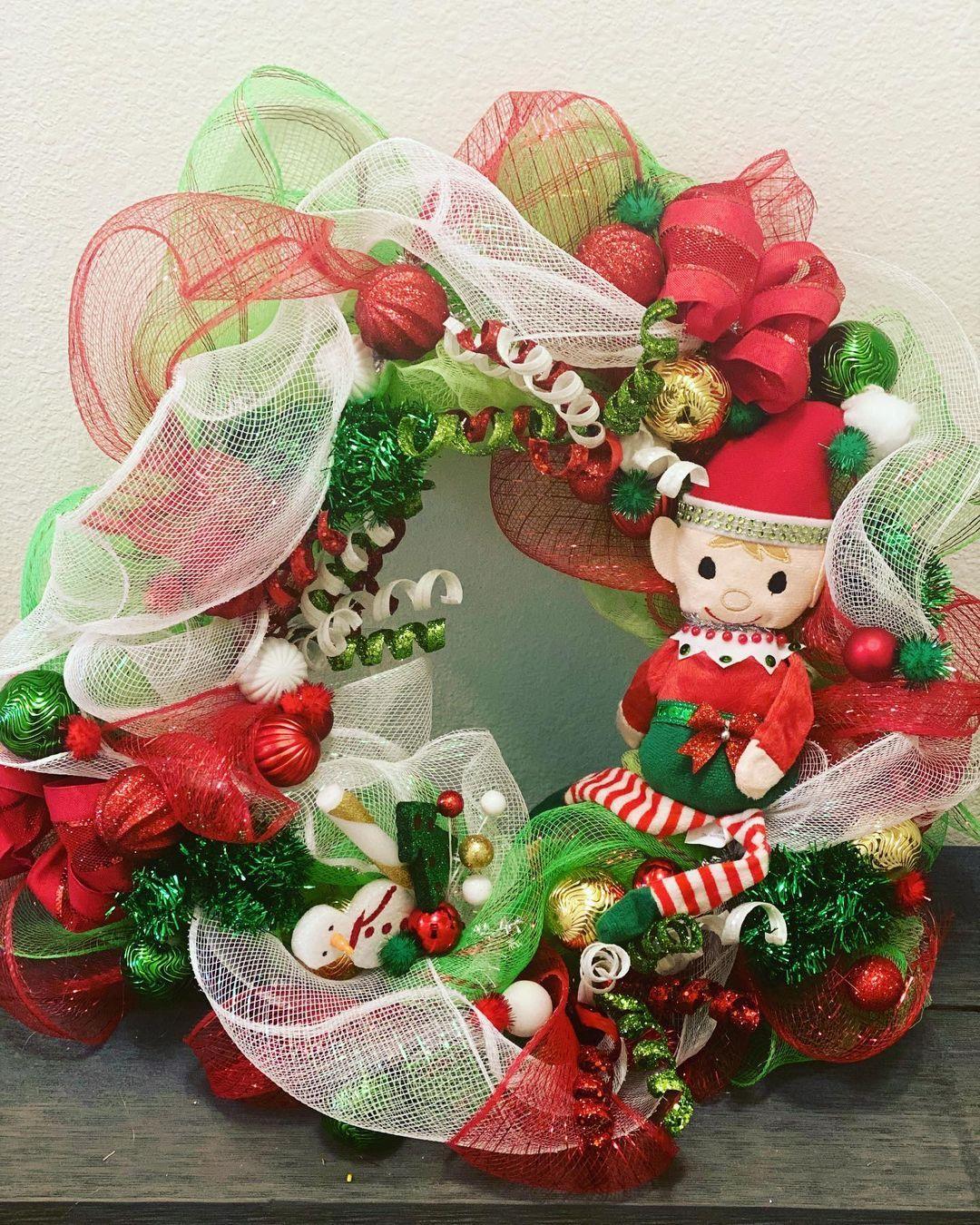 Just Elfing Around Wreath Christmasdecor Doordecor Christmaswreath Crafter Homedecor Elfontheshelf Elfdecor Hol In 2020 Christmas Wreaths Holiday Decor Holiday