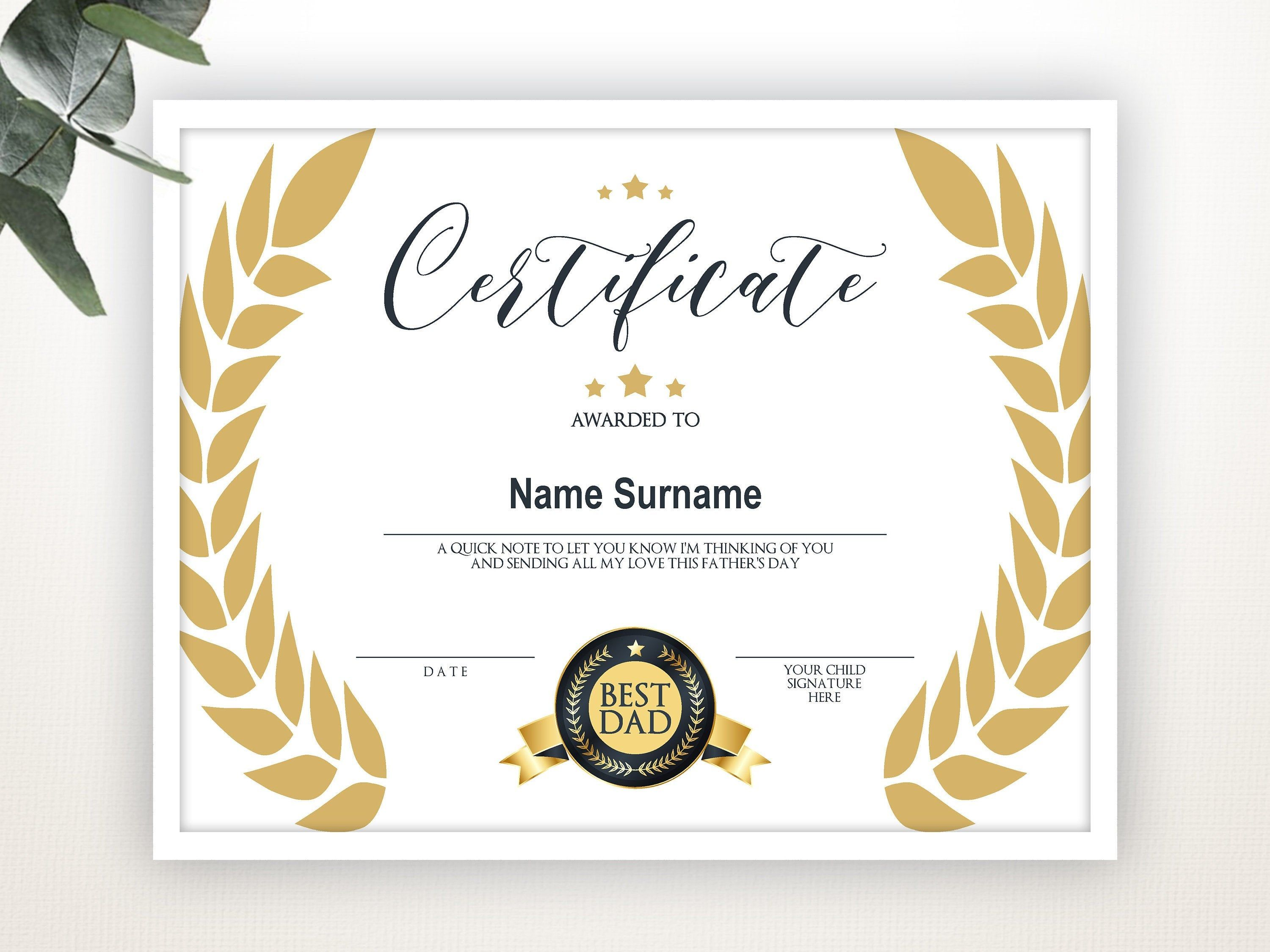 World S Best Dad Best Dad Award Gift For Father S Etsy Awards Gifts Award Template Worlds Best Dad Fathers day gift certificate template