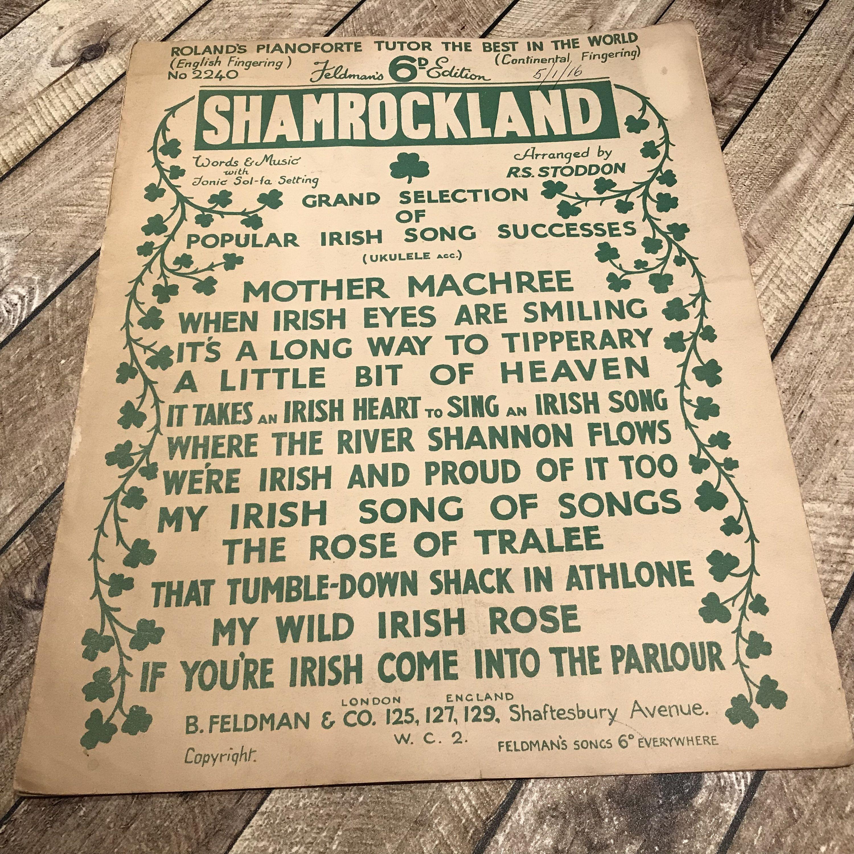 Irish songs for St Patricks Day, vintage sheet music titled