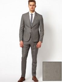 Asos Slim Fit Suit In Grey Birdseye | moda formal | Pinterest ...
