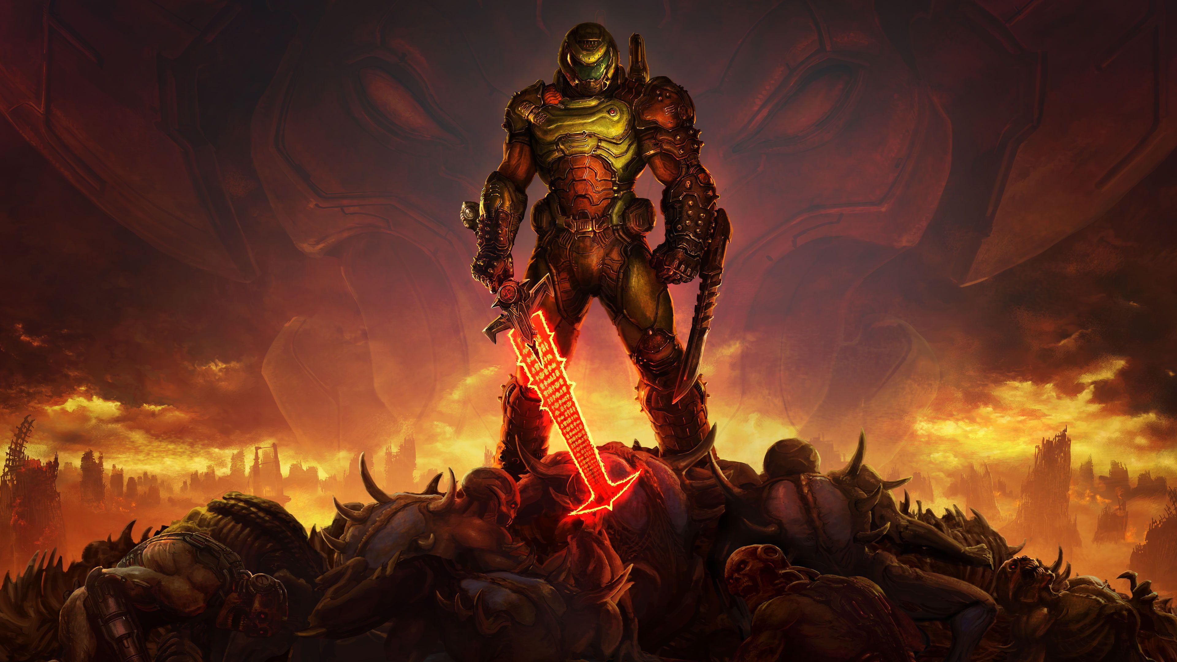 Doom Game Doom Guy Doom 2016 Doom Eternal Doom Slayer Video Game Horror Video Games Sword Demon 4k Wallpaper Hdwallpap In 2020 Doom Game Video Game Art Slayer