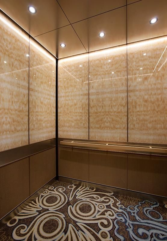 levele 105 elevator interior with upper panels in vivistone honey onyx glass with standard. Black Bedroom Furniture Sets. Home Design Ideas