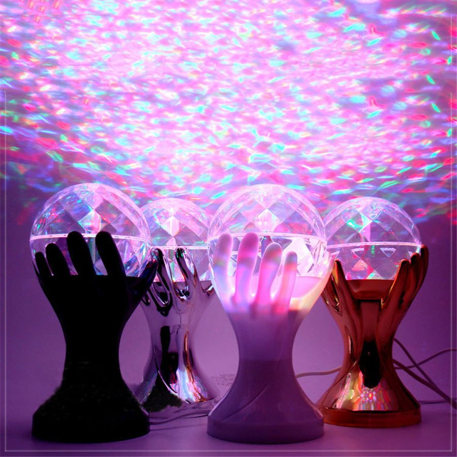 Beautiful Auto Rotating RGB LED Stage Lamps Palm Crystal Magic Ball ...