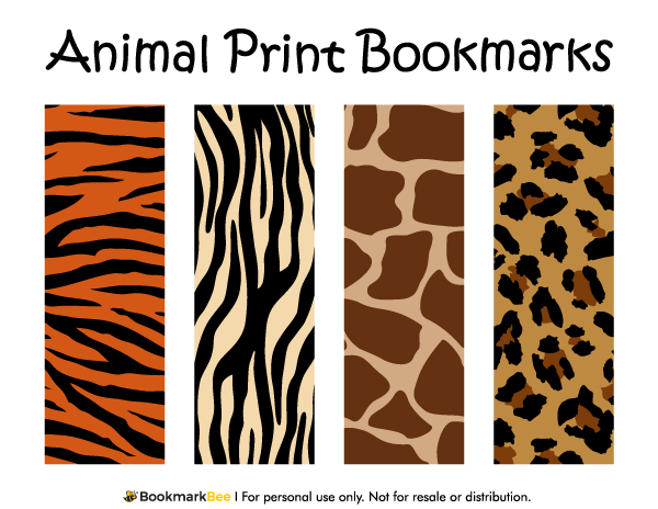 free printable animal print bookmarks the patterns include giraffe print leopard print tiger