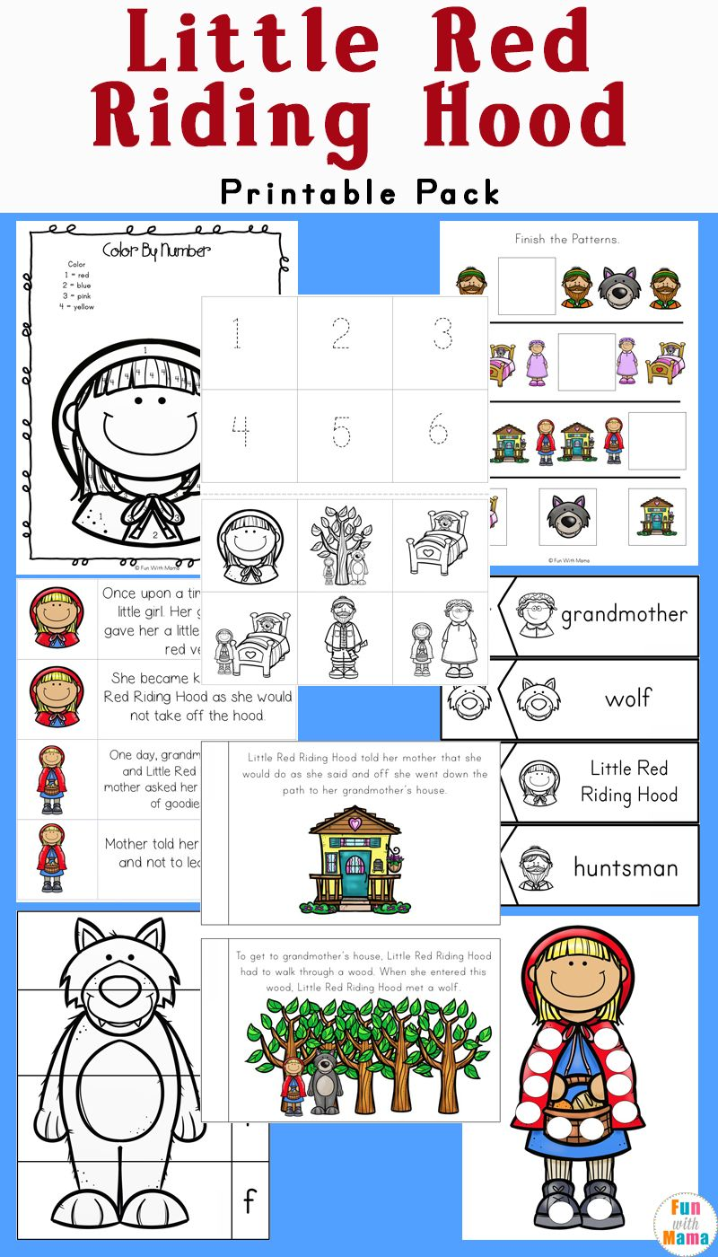 Little Red Riding Hood Printables And Activities Pack Kindergarten