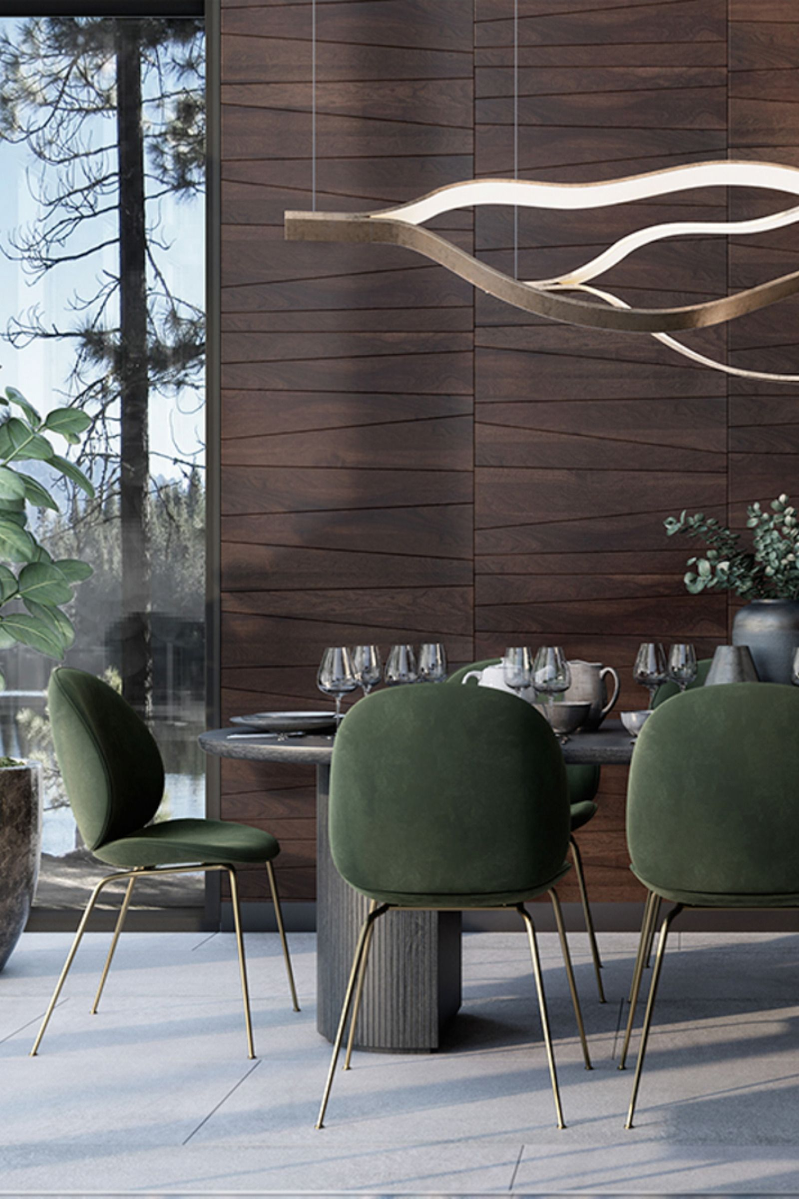 Living Room Walls Wood Panels: Wall Panels Trapezium Made Of Wood In The Living Room