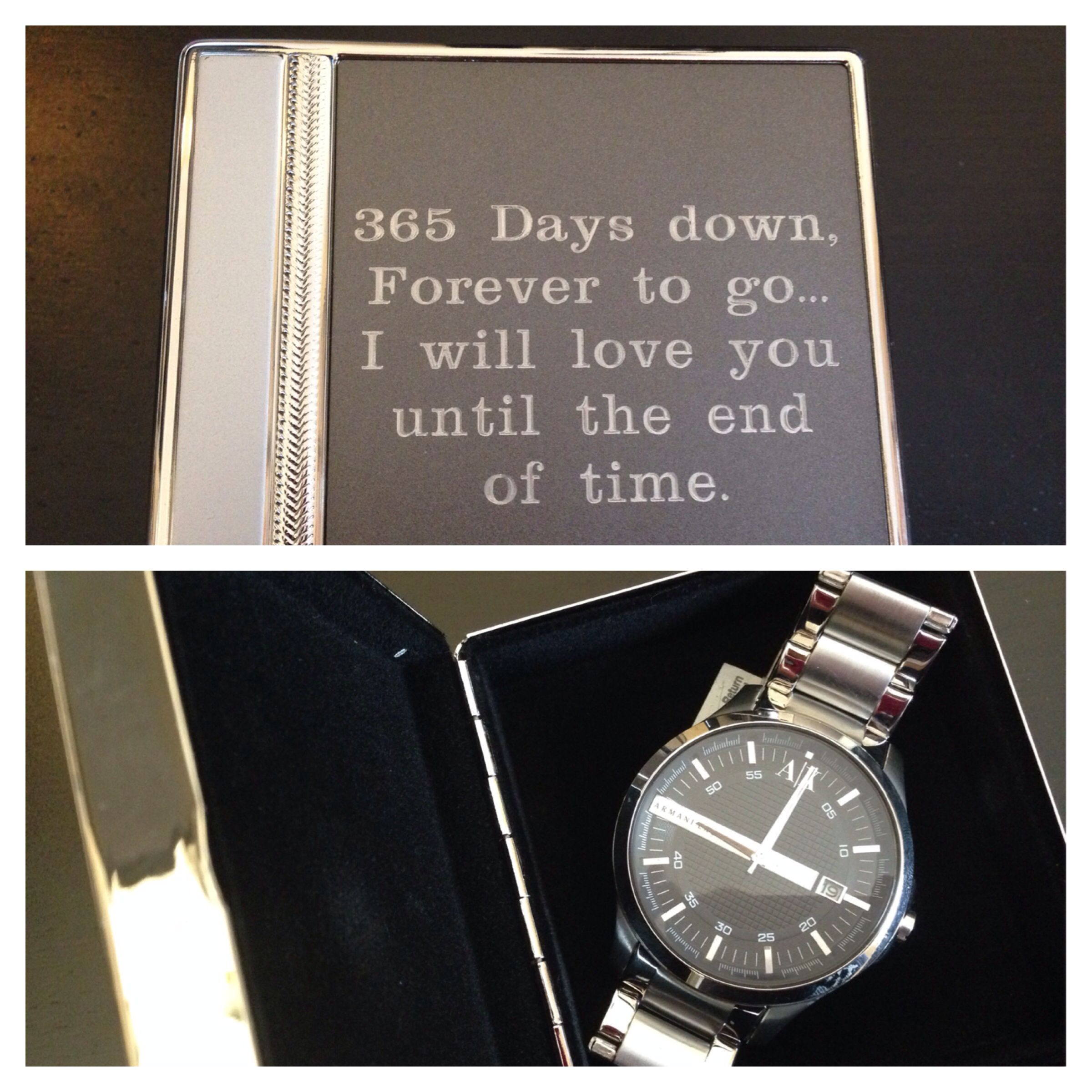 1st Wedding Anniversary Gift For Husband Engraved Box With Watch Modern Of A Clock