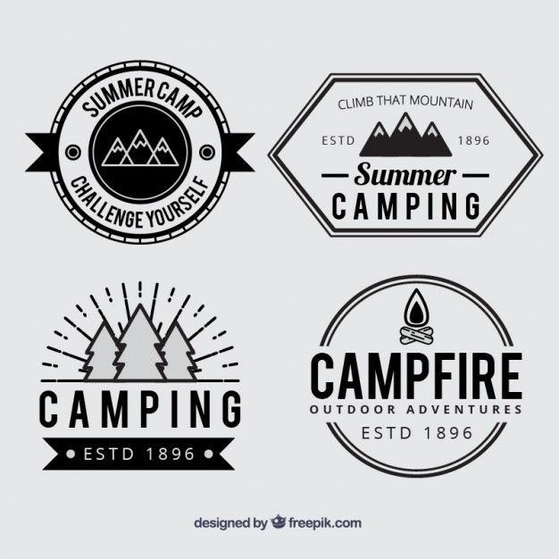 Summer camp badges in black and white Free Vector                              …