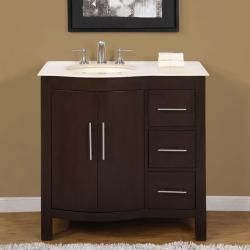 Silkroad Exclusive Natural Stone Countertop Bathroom Single Sink Cabinet Lavatory 36 Inch