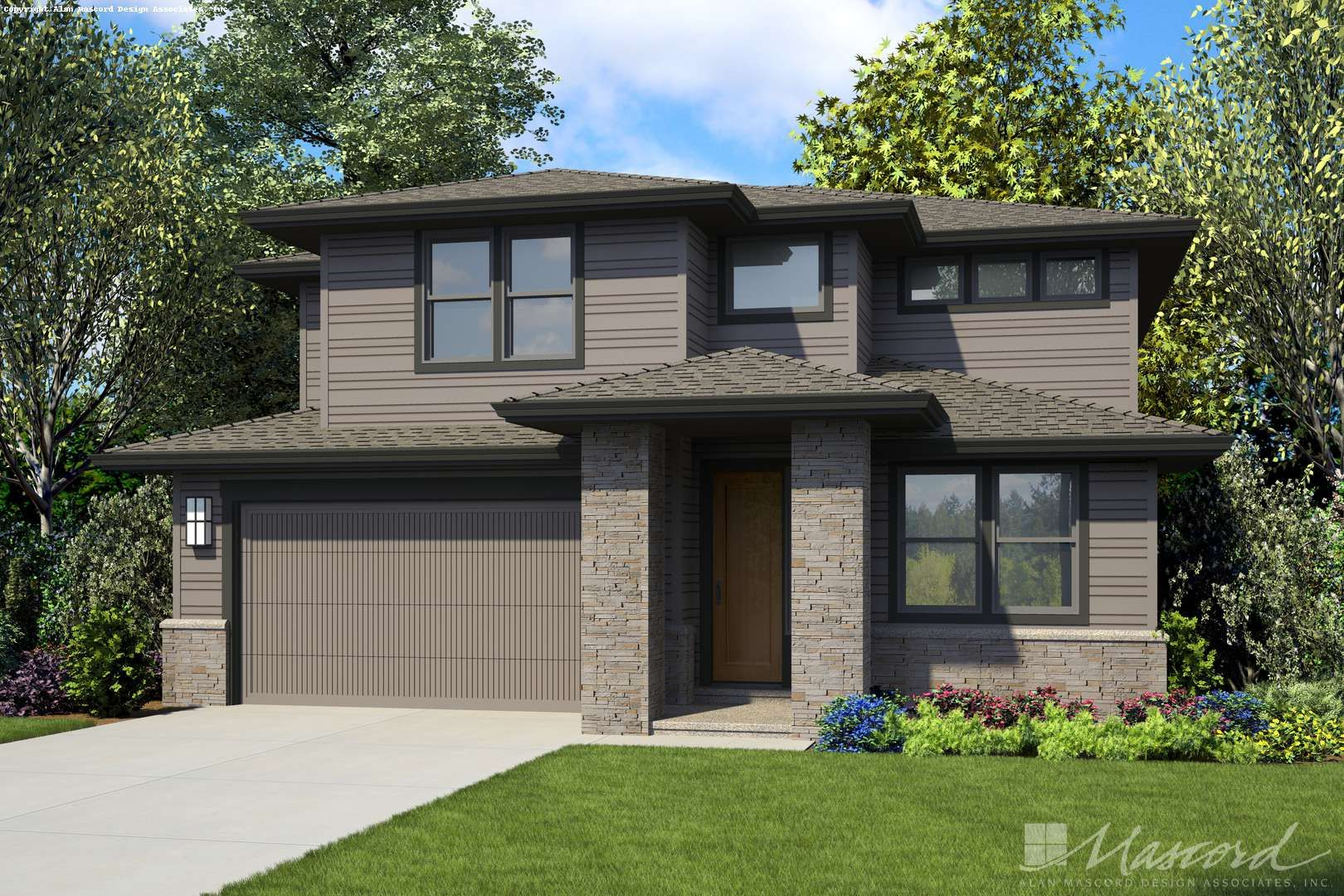 Alan Mascord Design Associates Plan 2230ch Front Rendering Contemporary House Plans Two Story House Plans Narrow Lot House Plans