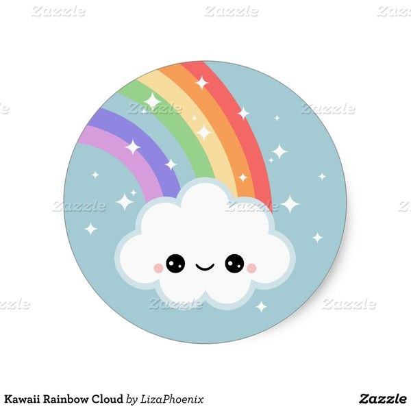 Kawaii rainbow cloud classic round sticker 5 25 ❤ liked on polyvore featuring home home decor office accessories smiley face stickers star stickers