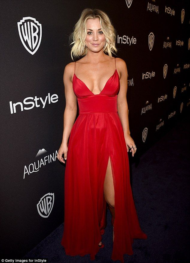 43265ce9042 Red hot  Kaley Cuoco put on an eye-popping display at the Golden Globes  after party on Sun.