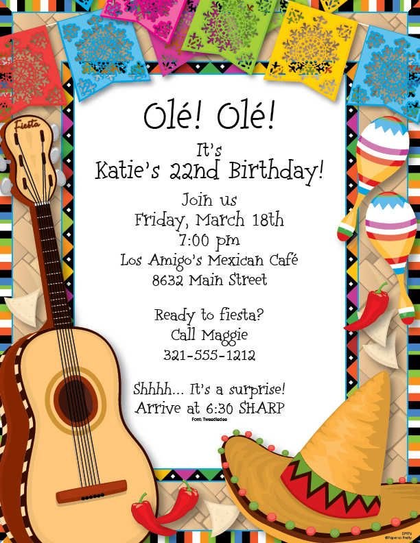 fiesta border invitations
