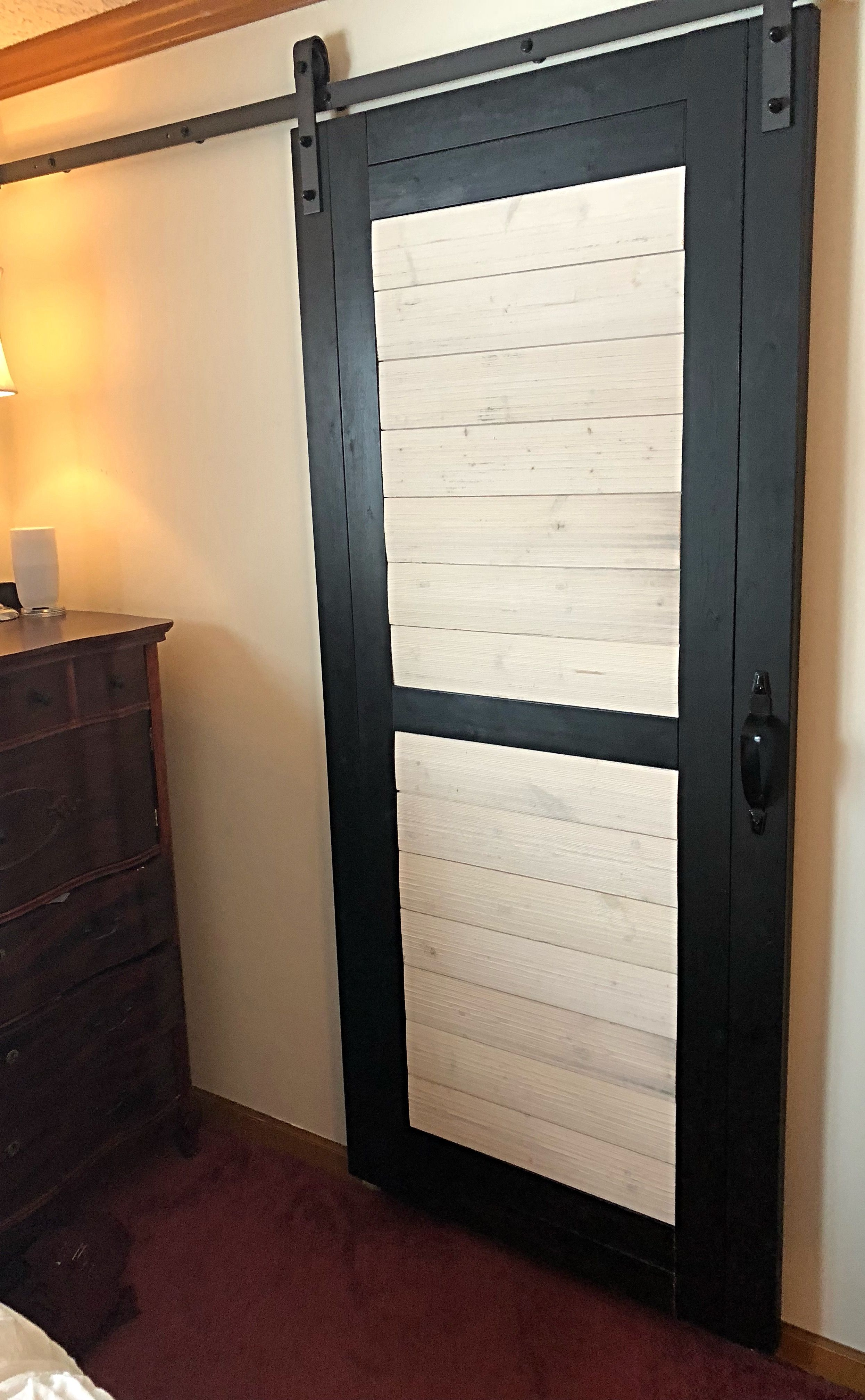 Shiplap Barn Door Made the door 83x38 used 1x3 pine boards stained
