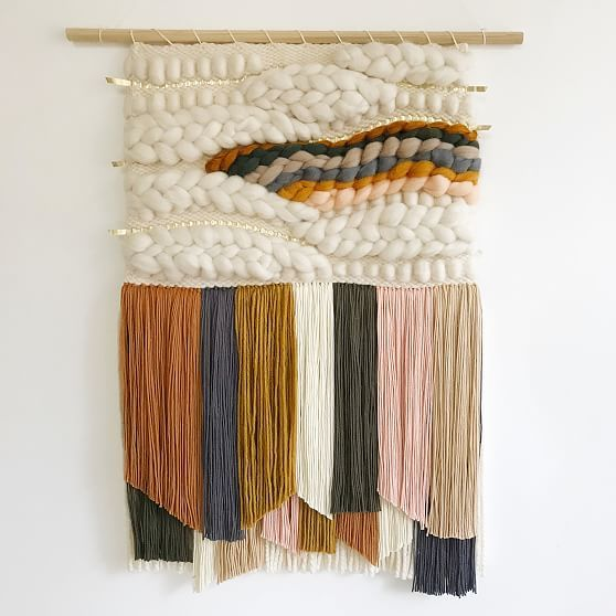 Using a lap loom in her home studio in Charleston, SC, Erin Barrett of Sunwoven handweaves these one-of-a-kind wall hangings using 100% cotton and 100% wool yarn threads. Inspired by color combinations found in nature, her designs are simple yet striking, making them perfect for both gallery walls or hanging by themselves. Handwoven by Sunwoven. Learn more. Small: 11-12