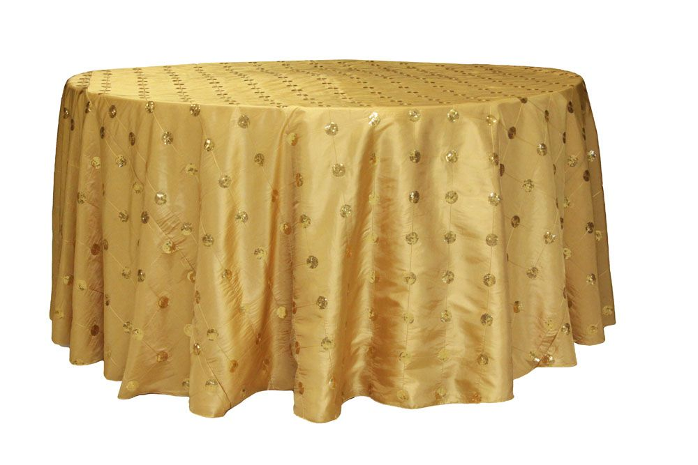 Sequin Embroidery Taffeta 120 Inch Round Tablecloth Gold At Cv Linens