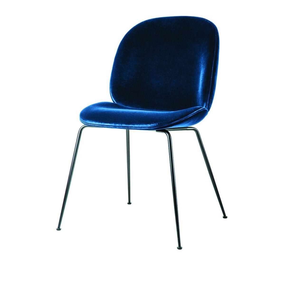 Chaise Beetle Velours Bleu Pieds Noirs Gubi Velours Bleu Chaise De Salle A Manger Chaise