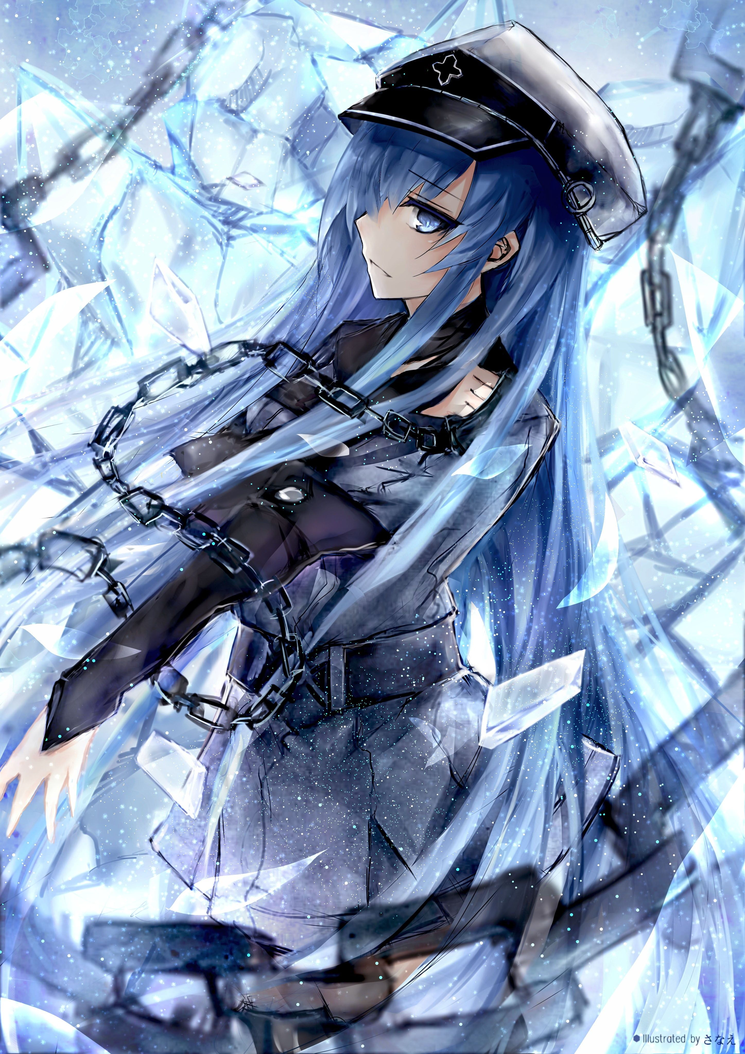 Blue Haired Female Anime Character Akame Ga Kill Esdeath Ice
