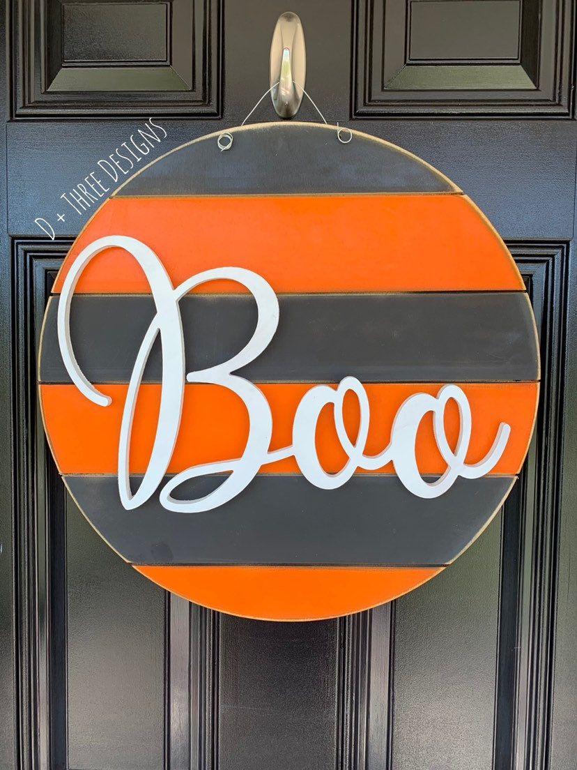 Photo of Boo Modern Farmhouse Grey & Orange Halloween Fall Wooden Door Hanger