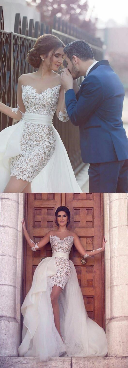 Sweetheart Long Sleeve Wedding Dress with Detachable Train