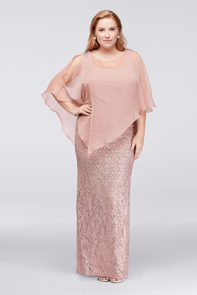 7e37d6d6a7add Sleeveless Sequin Lace Plus Size Mother of Bride Groom Dress with Caplet -  Blush (Pink)
