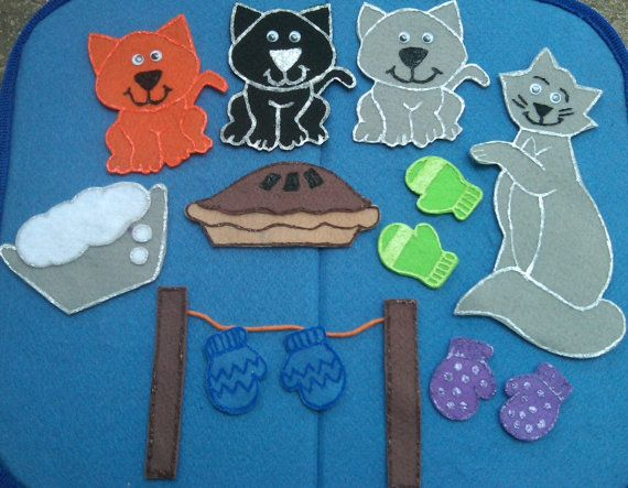 Three Little Kittens Felt Board Flannel Board By Funfeltstories 10 00 Felt Crafts Flannel Board Stories Felt Stories