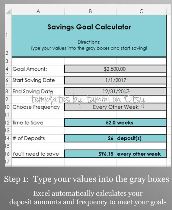Easy Excel Savings Goal Calculator Savings Calculator Excel