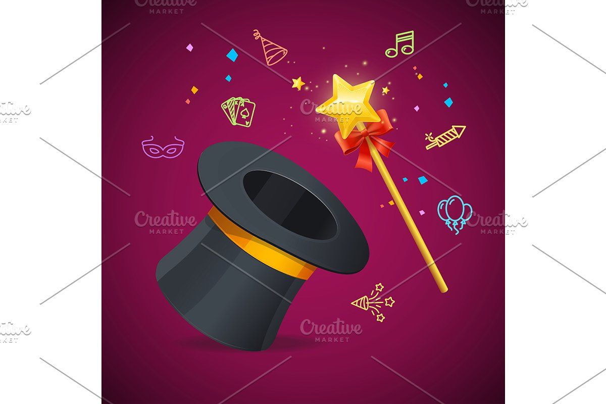 Golden Magic Wand With Star Vector In