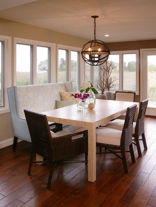 Rachel Reider Interiors   Dining Bench Idea For Combined Kitchen And Dining  Room    Lighting Fixture