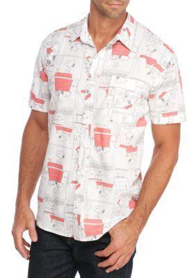 Hybrid  White Short Sleeve Snoopy Button Down Shirt
