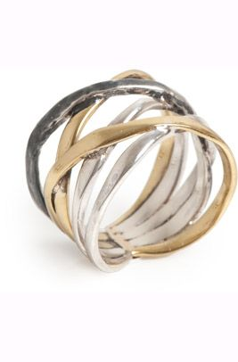 A&C Pure Silver - #4027-0511 - Twig multi twist sterling/oxydized sterling/bronze ring