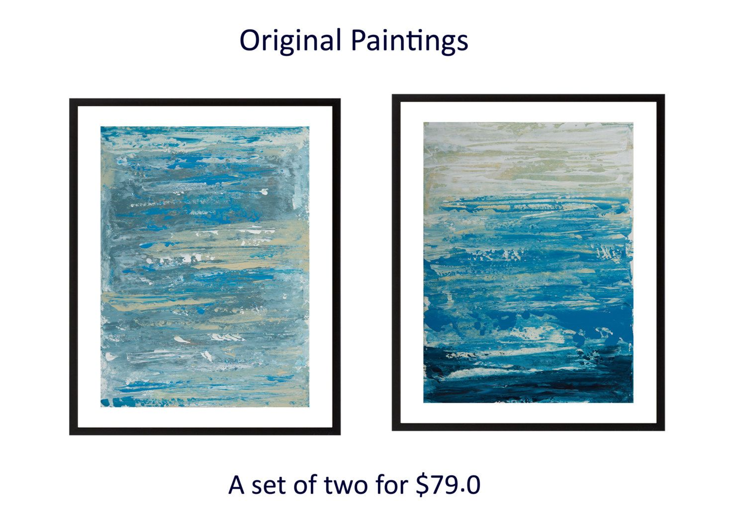 Original diptych painting abstract painting blue white acrylic