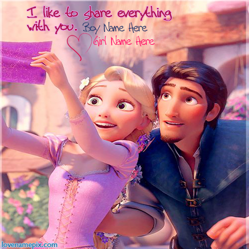 Write Couple Name On Beautiful Rapunzel And Flynn Cute Disney Tangled Couple Love Image For Facebook Dps Cute Flynn Disney Rapunzel Punk Disney Disney Tangled