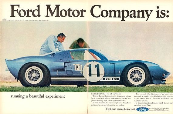 Ford Gt Car Ad Vintage Advertisement Wall By Stillsoftime