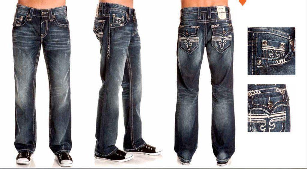 b07944d6e42 $158 Amazon.com: Rock Revival Men Jeans Sebastian T3 Relaxed Straight Fleur  Flap Dark Blue Wash: Clothing