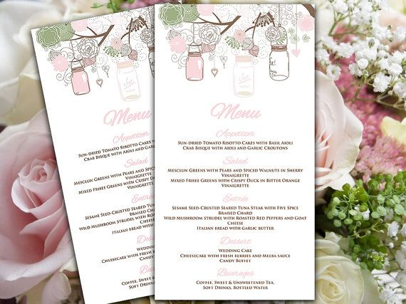 Mason Jar Menu Card Microsoft Word Template Sage Green Pink - Menu Word Template