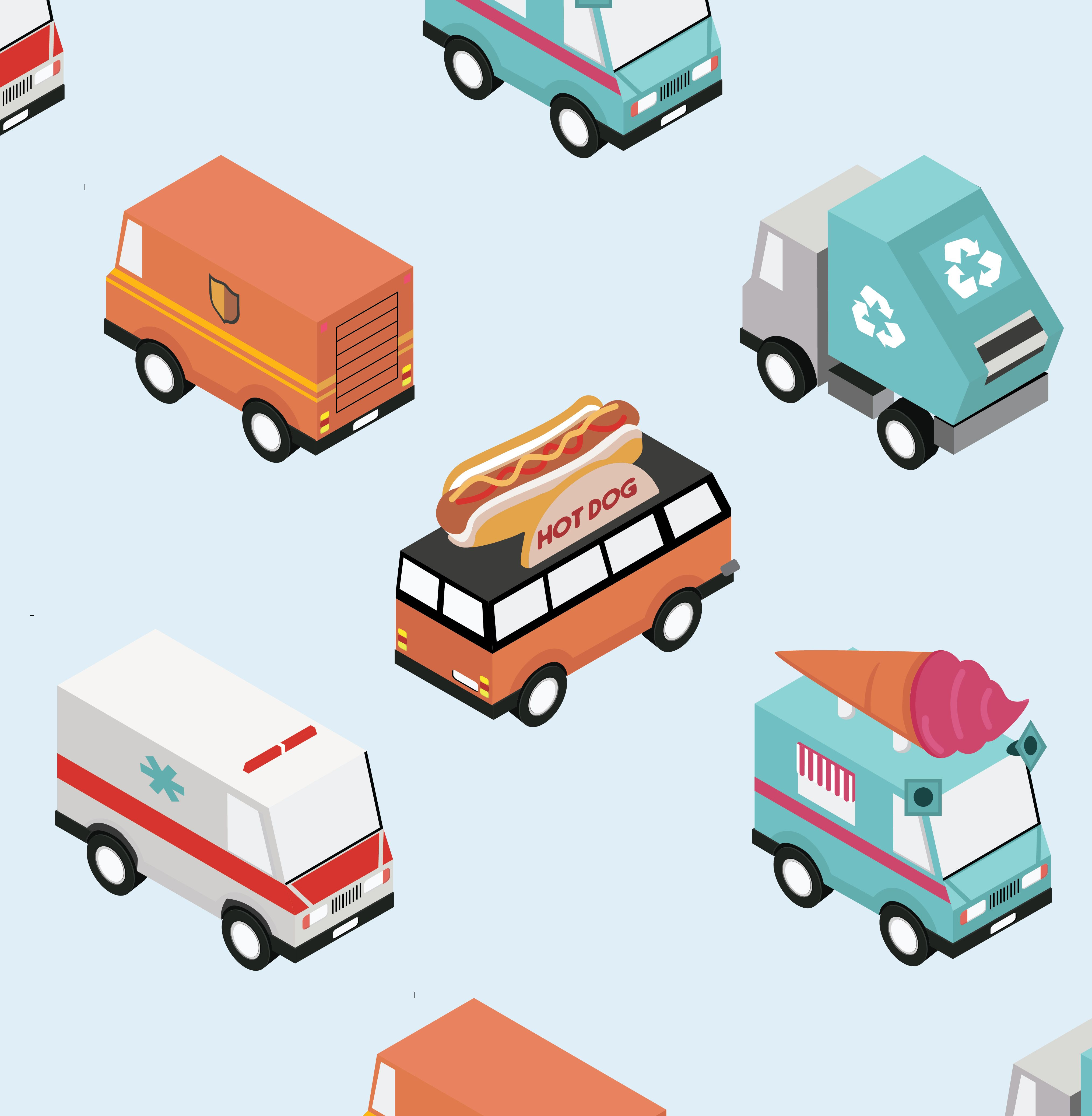 Isometric Vector Cars Illustration For Architectural Diagrams Ai