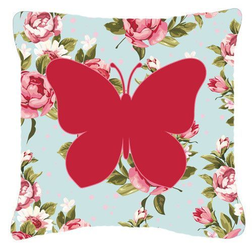 Butterfly Shabby Chic Blue Roses Canvas Fabric Decorative Pillow BB1047