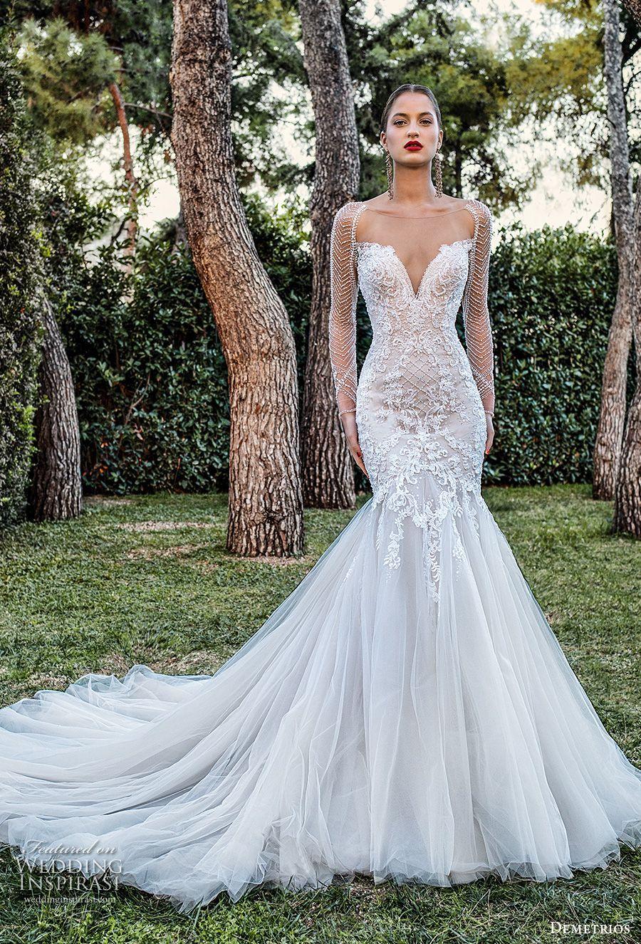 Demetrios 2020 Bridal Long Sleeves Illusion Bateau Sweetheart Neckline Heavily Embellished Bodice Wedding Dress Long Sleeve Wedding Dresses Sheer Wedding Dress [ 1326 x 900 Pixel ]