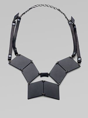 Bliss Lau  Moderne Leather-Trimmed Plaque Bib Necklace. $288