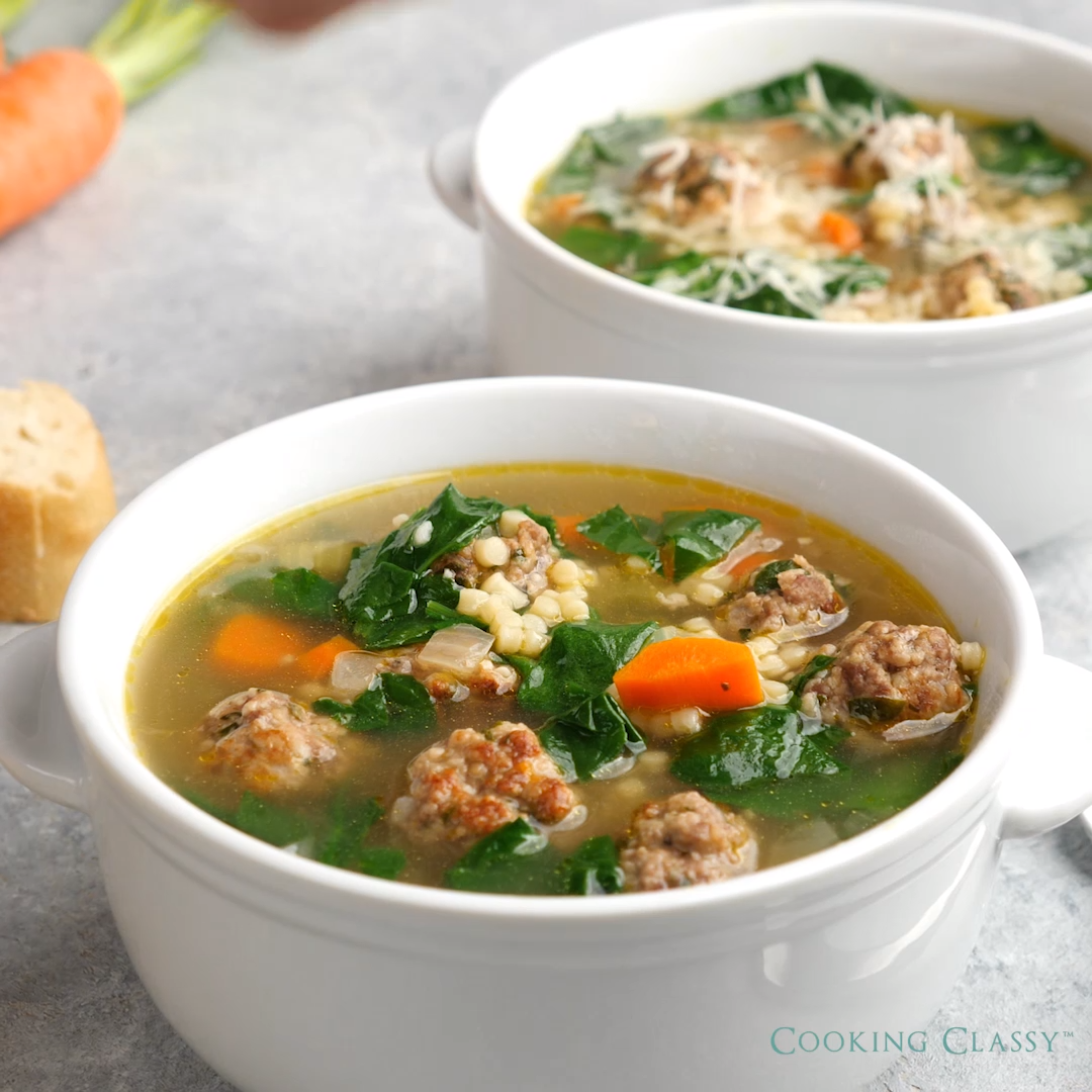 Best ITALIAN WEDDING SOUP - this has gotten great reviews, try it an see why! #italianweddingsoup #meatballs #soup #dinner #italianweddingsoup