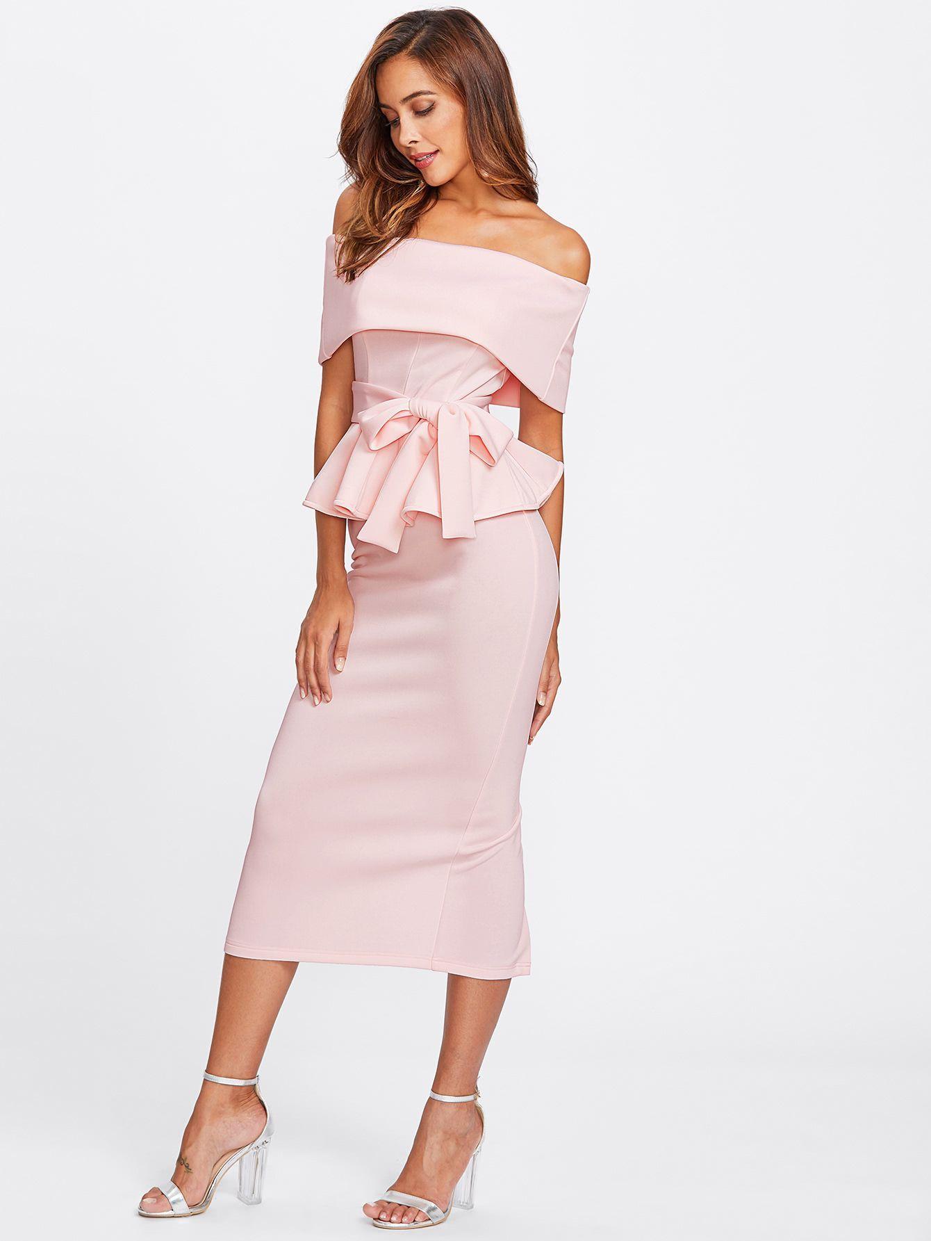 30629f2f3 Foldover Bardot Peplum Top & Skirt Set   MakeMeChic.COM   Make Me ...