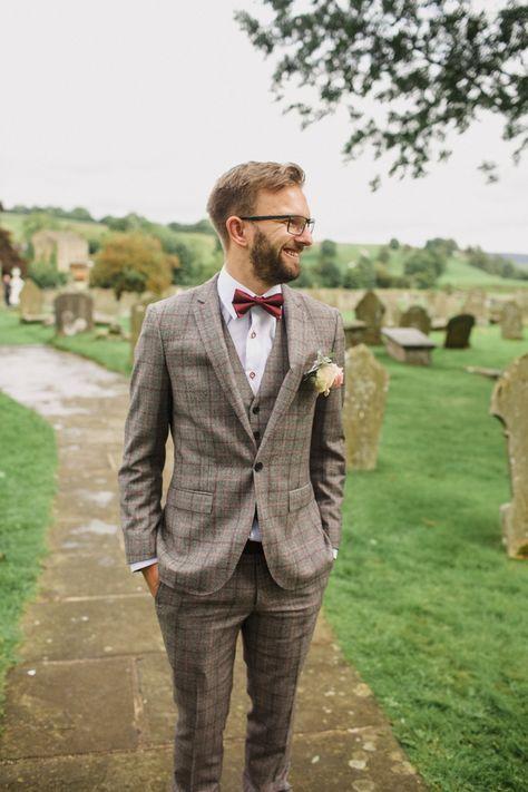 Summer Country Pastels Wedding | Brown tweed suit, Bow tie groom and ...