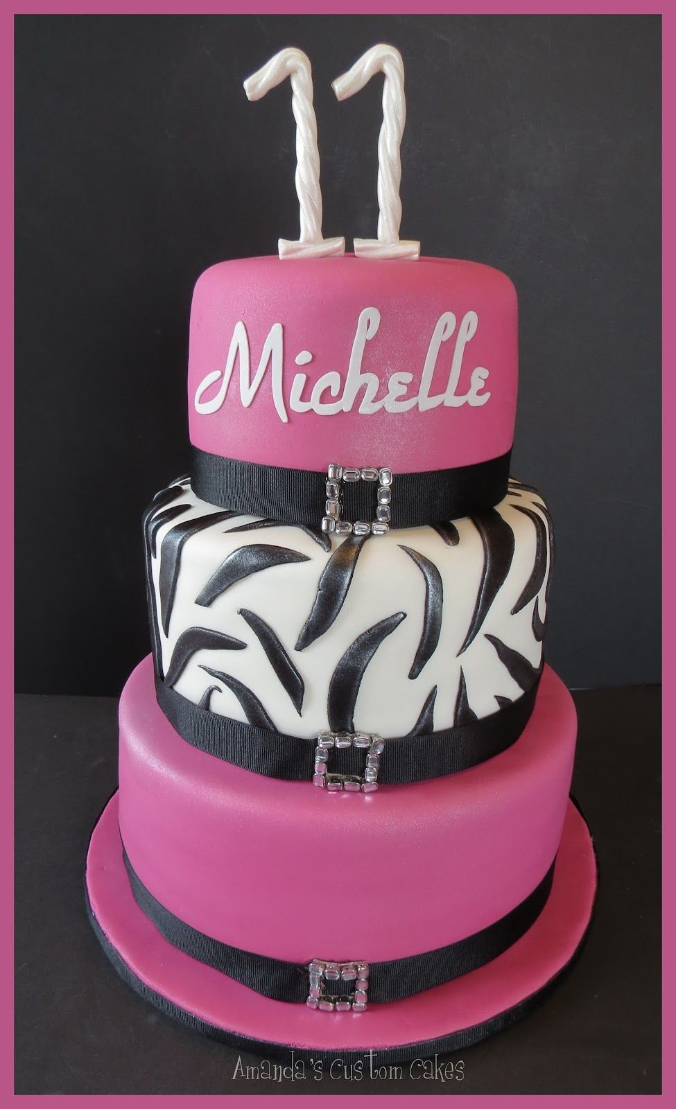Th Birthday Cakes For Girls Amandas Custom Cakes Girly Th - 11th birthday cake ideas