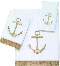 Golden Anchors Embroidered Towel Sets With Images Embroidered Towels Nautical Gifts Decorative Towels