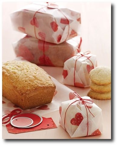 Tissue paper ironed between 2 sheets of wax paper turns any baked good into a beautiful gift! Oh, Martha, you genius.