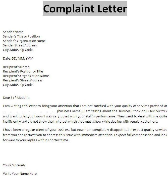 business letter of complaint letters font