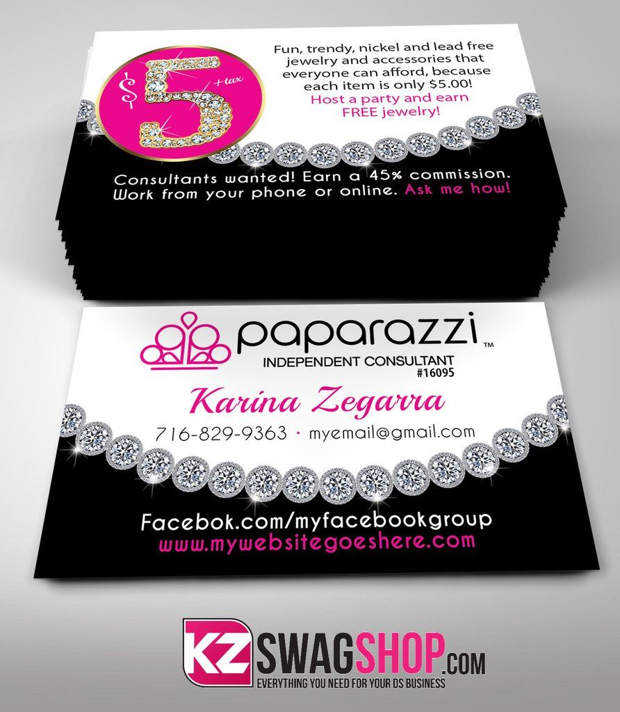 5 bling jewelry business cards style 12  paparazzi