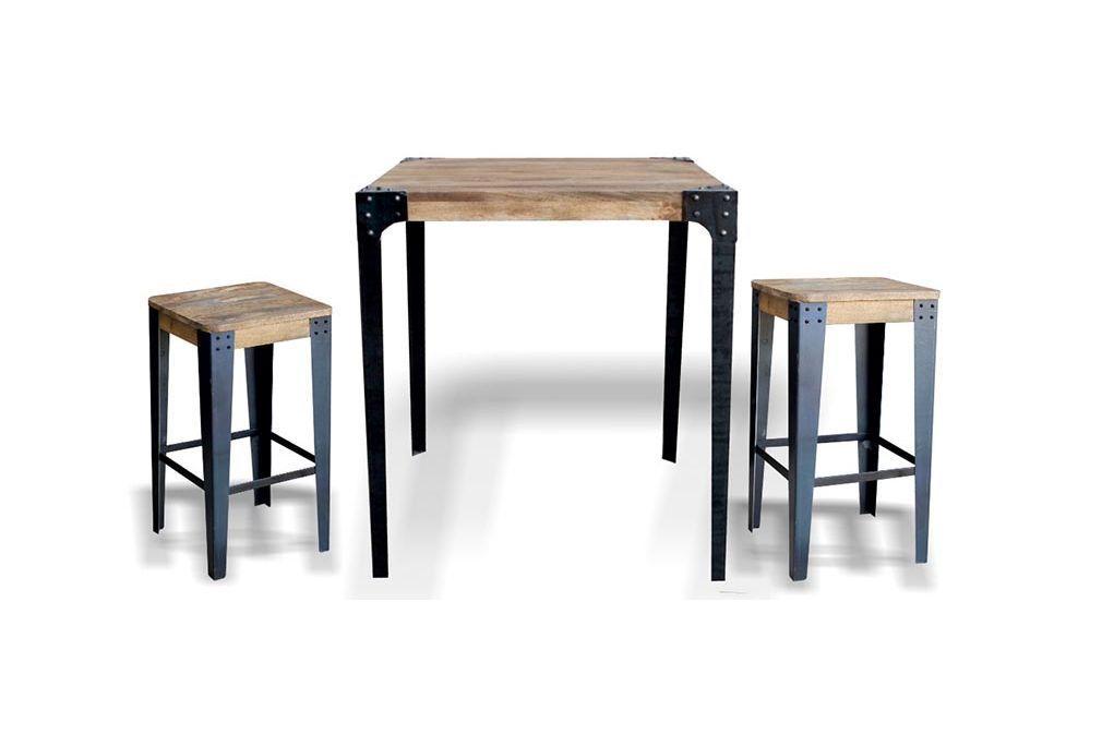 Tabouret design industriel métal et bois 65cm MADISON